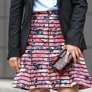 Banana Republic Floral Striped A-Line Skirt Size 6
